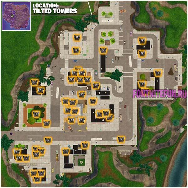 Tilted Towers - Сезон 5 Неделя 9 - Прохождение всех челленджей