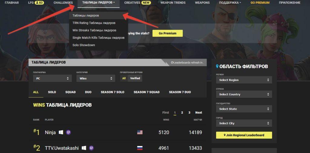 lider trn 1024x506 - Фортнайт трекер - как посмотреть статистику по нику