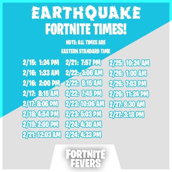 fissures time - Событие Землетрясение в фортнайт - график