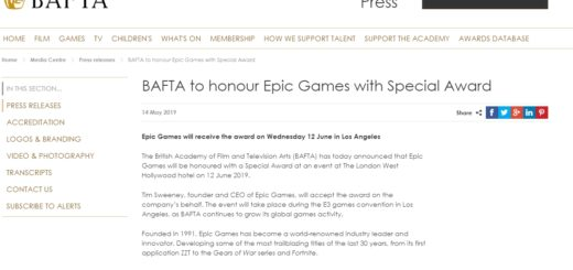 bafta 520x245 - Epic Games получит награду BAFTA