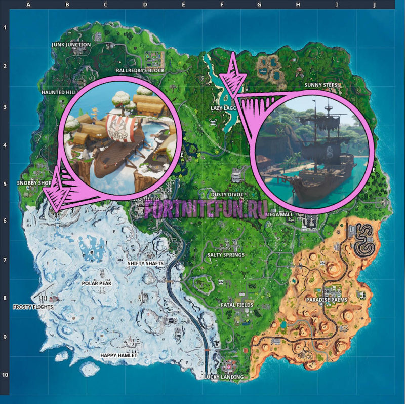 Collect Wood From A Pirate Ship Or Viking Ship Week 10 Season 9 Fortnite Challenge Location Guide 2 800x797 - Испытания 10 недели 9 сезона - чит-карты и прохождение
