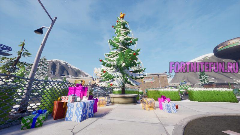 """елка фортнайт 800x450 - Танцуйте перед новогодними ёлками в районах с разными названиями - испытание """"Зимний фестиваль"""" фортнайт"""