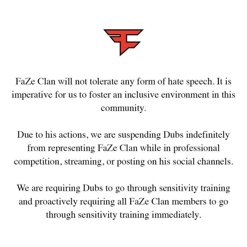 FaZe Dubs получил пожизненный бан за расизм мнение Ninja и Tfue 800x800 - Dubs получил бан от FaZe за расизм - мнение Ninja и Tfue
