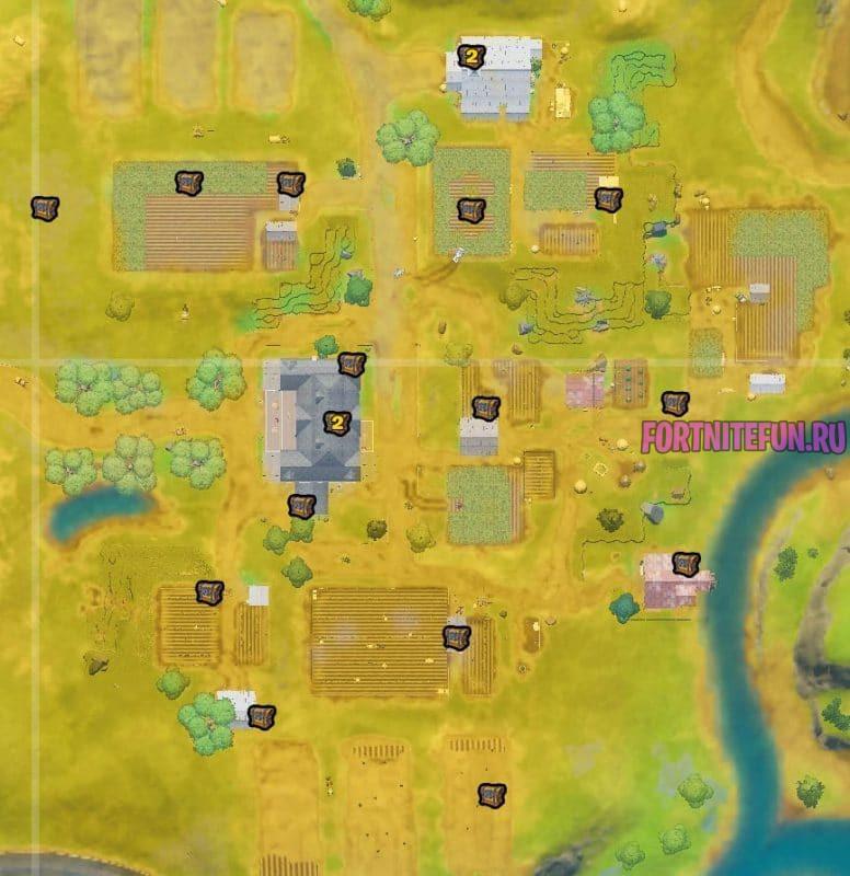 сундуки на Фатальной ферме 7 776x800 - Испытания 8-й недели 13 сезона фортнайт — чит-карты и прохождение
