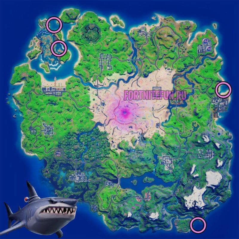 урон прожорливой акуле 800x800 - Эпические испытания 9-й недели в фортнайт — чит-карты и прохождение