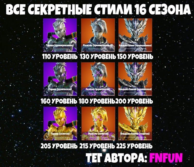 16 1 800x690 - Все секретные стили 16 сезона в фортнайт