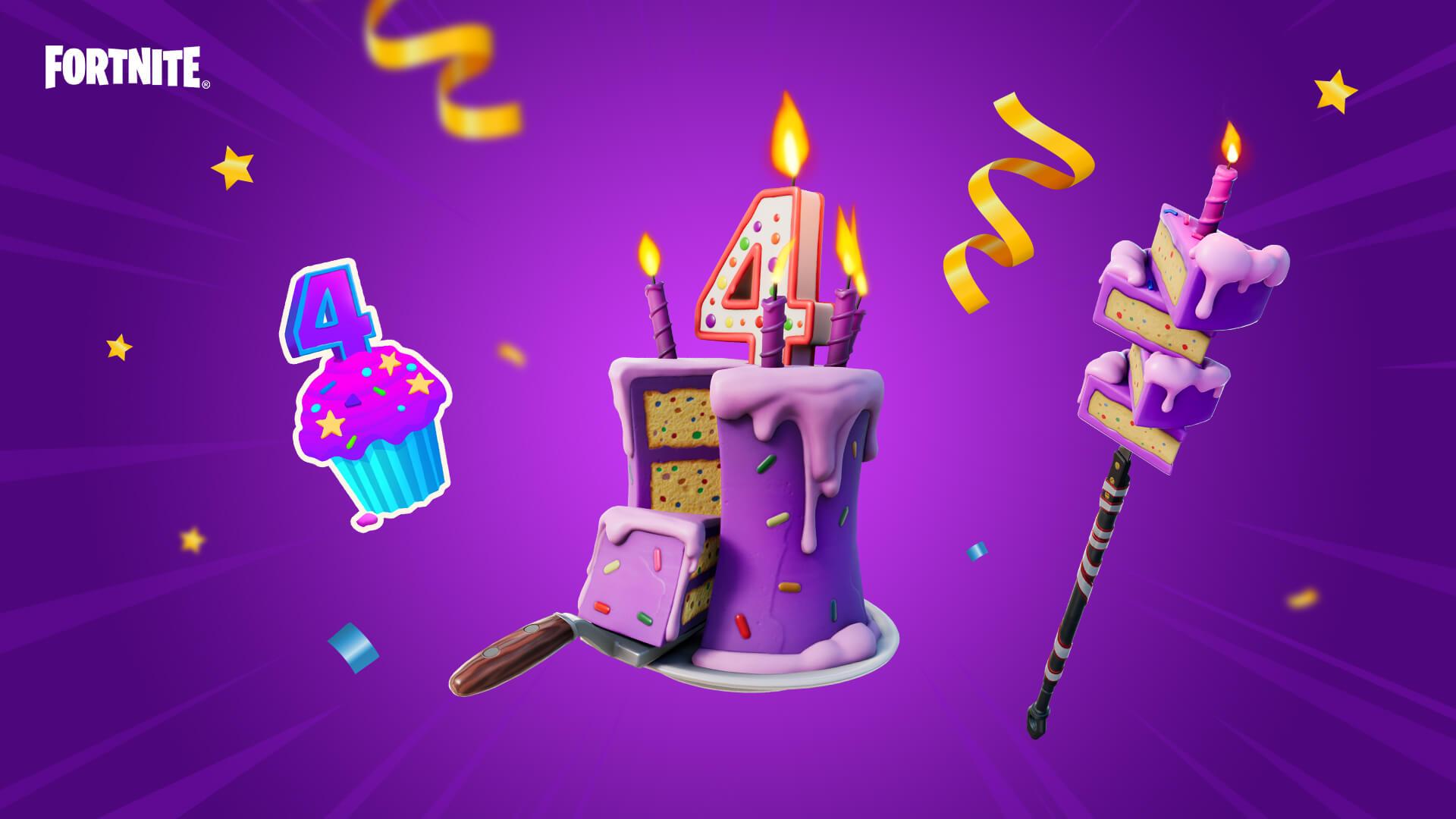 битва фортнайт празднует свое четвертое день рождения 2 - Королевская битва фортнайт празднует день рождения!