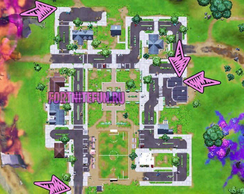 парк карта туалетов и баков в фортнайт 800x637 - Задания персонажа Кора | Испытания на опыт фортнайт 18 сезон